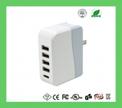 5 port 5v 6.8a usb smart charger for iPhone, iPad, watch with UL FCC CE certificates